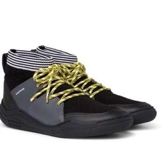 Lanvin stretch-knit & leather high top sneaker