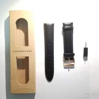 Kapten & Son 黑色真皮錶帶 玫瑰金扣 20mm 18mm 100%NEW 100%REAL