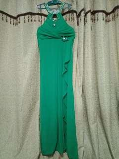 Green Turtle neck Long Gown