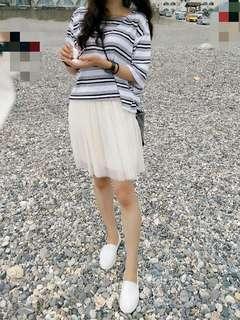 🚚 實穿近全新雙層奶油白 氣質甜美紗裙#十月半價特賣