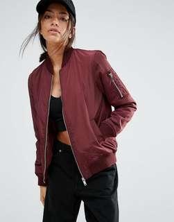 New Look Burgundy Bomber Jacket