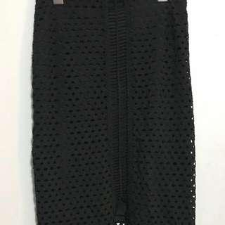 HM black mesh pencil skirt with slit