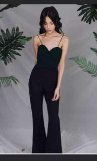 Size S ohvola renee structured jumpsuit green black