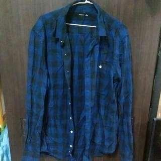 🚚 二手藍色格子襯衫