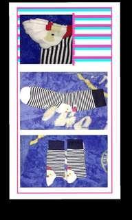 Kaos kaki salur putih hitam