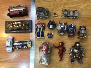 鐵皮公仔 柯柏文 麥加登 古堡 + 7 11  iron man + 巴士 + Toyota 金屬車