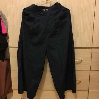 深藍打折鬆緊寬褲