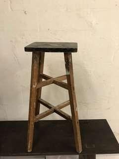 Vintage old wooden stool