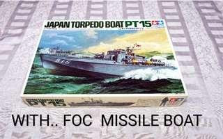 Japan Torpedo Boat PT 15...1/72 scale TAMIYA.. with FOC Missile Boat Type 021 Chinese Navy 1/180 scale
