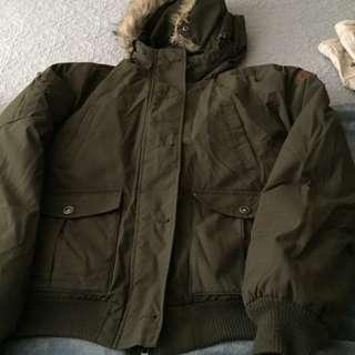 Roots Down Khaki Ladies Bomber Jacket Size Medium