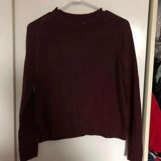 H&M maroon knit long sleeve