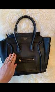 Celine Micro Luggage Tote Black Leather