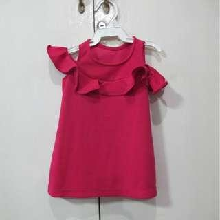 Fuchsia Cold Shoulder Baby Dress