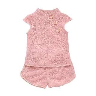Lace Cheongsam 2pc Set [PO] / Pink Cheongsam / children kids babies toddler CNY clothes / girl clothes / girl cheongsam set / pretty CNY clothes
