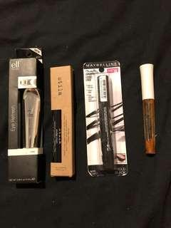 Eyeliner products - elf, stila, Maybelline,