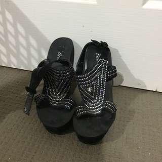 swarovski crystal high heel wedges size 8