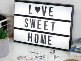 DIY A4 size LED light box with 90 letters