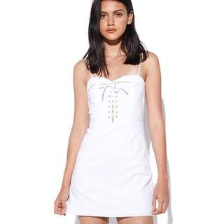 Perfect Stranger Tie Front Dress (White)