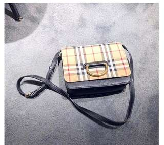 b4cb394c901a Burberry Small Vintage Check   Leather D-ring Sling Bag Authentic Quality