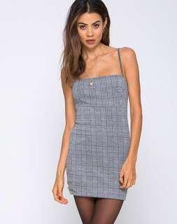 Grey Black Checkered Mini Dress