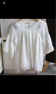 Size 6-10 white chiffon top