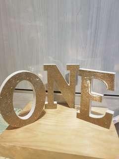 Rental of Glitter ONE wooden letterings