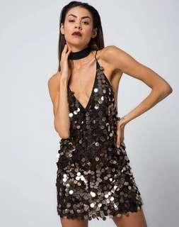 Black Gold Sequin Mini Dress