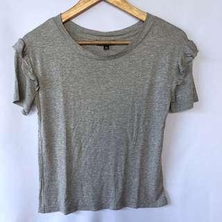 TOPSHOP gray ruffle shoulder shirt