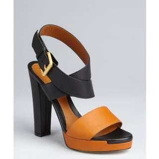 Fendi Black & Honey Colorblock Sandals in size 38