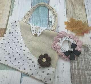 100%純手工製作 針織蝴蝶髮飾 只此一個