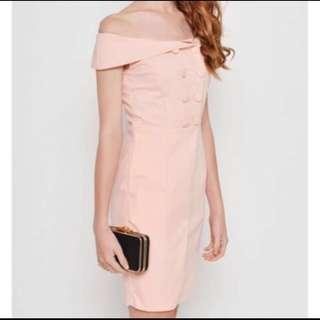 Love and Bravery Hilder Off-Shoulder Peach Dress