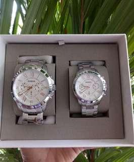 Authentic Fossil Couple Watch Set Silver Stainless Steel
