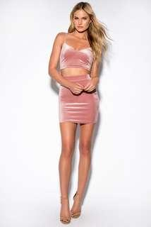Pink Crop Top and Skirt Matching two piece set
