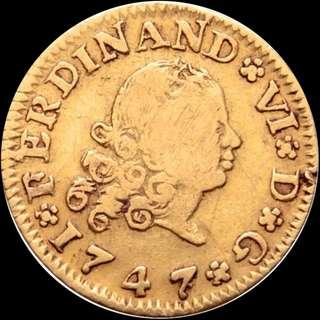 Kingdom of Spain, Fernando VI, 1747, Gold Half Escudo