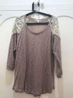 Plus Size Oatmeal Lace Top