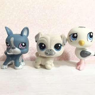 Littlest pet shop lps boston terrier, fuzzy pug dog and seagull