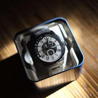 Fossil BQ2241 Men Flynn Pilot Automatic Skeleton Dial Stainless Steel Watch