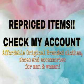 REPRICED ITEMS!!! UNTIL OCTOBER 20 ONLY