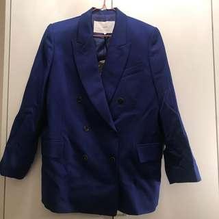 Korean Brand : push button blue oversized blazer 藍色西裝外套 from Liger