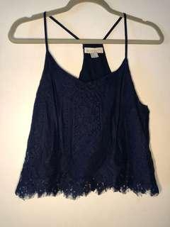 Forever 21 SMALL Blue Lace Tank top