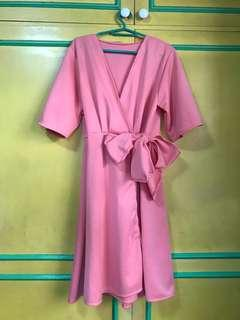 Old rose wrap around dress