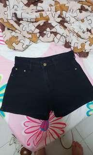 Ulzzang black denim shorts