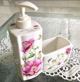 Detergent container and sponge holder