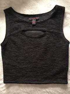 SMALL Material Girl black crop top with cut out