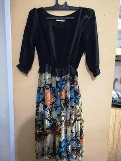 Dress Hitam Bunga2 Second