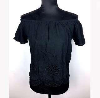 Black sz S/M crotchet women crop top shirt off shoulder laser cut basic summer