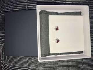 Heart Red Ruby Sterling Silver Stud Earrings