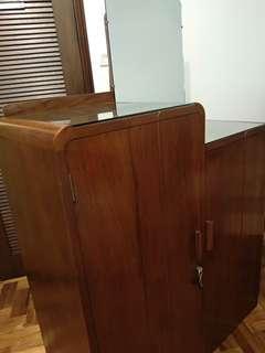Vintage solid teak wood cupboard