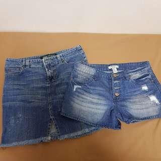 Versace Denim Skirt and F21 short bundle (authentic not overrun)