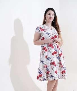 Red Floral Overlap Dress